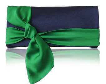Navy and emerald satin bow Piper clutch purse