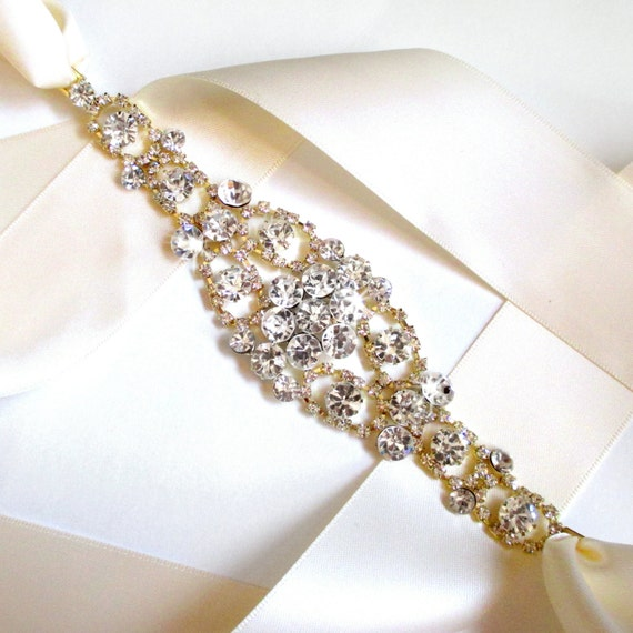 Gold Wedding Dress Sash, Rhinestone Encrusted Bridal Belt Sash - Crystal Wide Wedding Belt