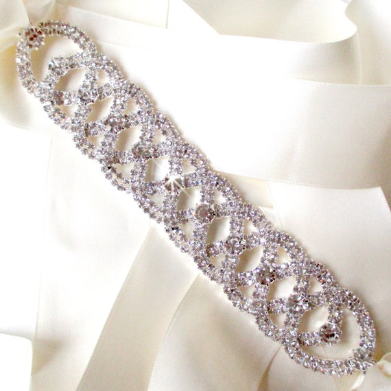 Luxurious silver wedding dress sash rhinestone by getnoticed for Rhinestone sash for wedding dress