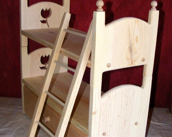 "Detachable Doll Bunk Bed with Trundle and Ladder 18"" American Girl Furniture 2 stackable beds"