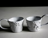 Espresso Cups for Two -Rustic Chic High-fired Terracotta with Wild Flower (no5 & no6)