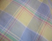FIESTA WARE -Plaid Tablecloth - 52 inch round -  Blue - Yellow - Pink - green - Woven cotton - Fiesta Ware Label