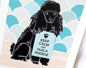 Keep Calm Black Poodle with Scaled Background - 7x9 Eco-friendly Print