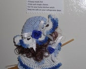 Blue and White Crocheted Kitchen Witch Broom Doll Fridgie