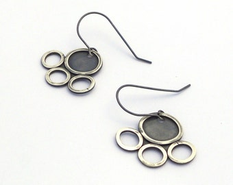 Sterling Silver Earrings, Minimal Jewelry, Geometric Earrings, Oxidized Silver Jewelry, Dangle Earrings, Contemporary Jewelry