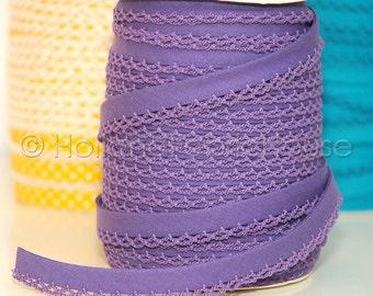 Double fold picot crochet edge bias tape, crochet bias tape, lace bias tape, puple bias tape, purple solid bias tape, purple bias binding