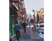 Lower Eastside Painting  in New York Art Fine Art Print 8x10, NYC Cityscape Painting by Gwen Meyerson
