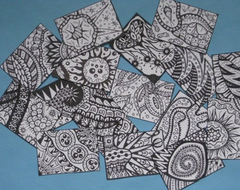 Color Your Own Artist Trading Cards  -  Set of 16 - Pack #8