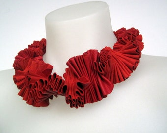 jewel tone pleated leather neck piece, ruby red ruff,  recycled leather statement necklace, avant garde