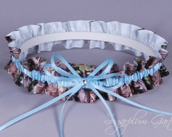 Something Blue Wedding Garter in Pale Blue and Realtree Camouflage Grosgrain with Swarovski Crystal - Ready to Ship