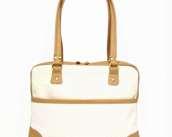 Tan and Beige Leather Purse With Double Zipper Closures