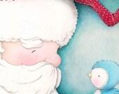 "art print - christmas - holiday - santa - santa claus - blue bird - winter - wall art - ""THE WARMEST WISH! """