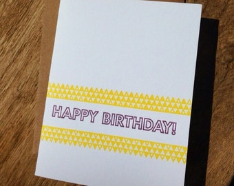Box Set of 6 Birthday Letterpress Greeting Cards (Various Colors Available)