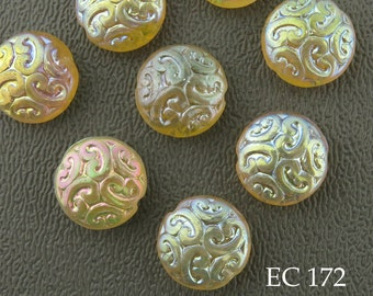 14mm Brocade Coin Czech Glass Beads, Yellow Lemon Sherbet (EC 172) 6 pcs BlueEchoBeads
