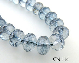 Czech Glass Beads Lumi Blue Rondelle (CN 114) blueecho 12pcs BlueEchoBeads