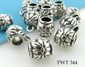 10mm Pewter Slider Charm Bail with Flower Antiqued Silver (PWT 344) 8 pcs BlueEchoBeads