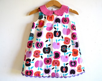 HALF APPLE girl dress and bloomers back to school outfit, apples girls dress, toddler dress, party dress, back to school, baby girl dress