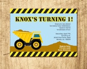 Dump Truck or Construction Birthday Party invitation