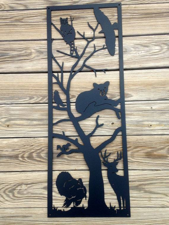 Metal Wall Decor Animals : Tree full of animals metal wall art r