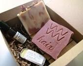 Lavender Rose Bath and Body Set - with soap, shampoo bar, perfume, lip balm and 2 Cedarwood Soap Decks