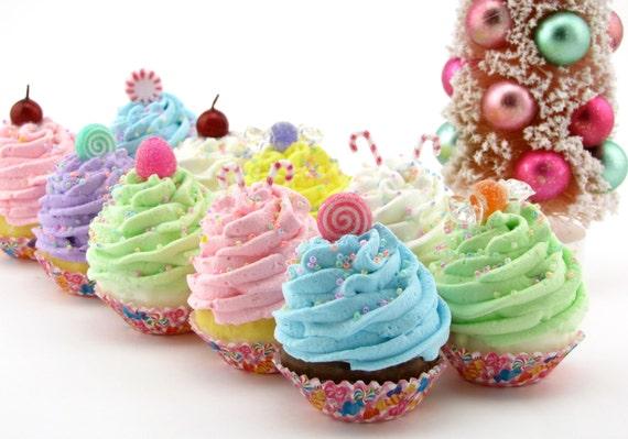 Sugar Plum Fairy Candy Land Fake Cupcakes Set 10 Mini Cupcakes