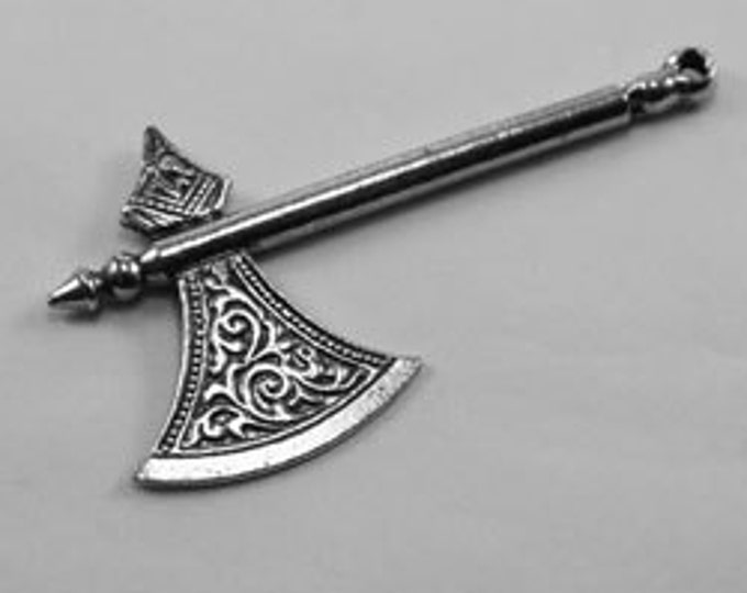 Patterned Battle axe - 1 bail made with Australian pewter Pendant s035
