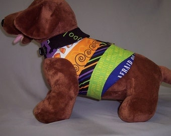 HARNESS PET SHIRT  Bright Green With Witches Print Added Collar