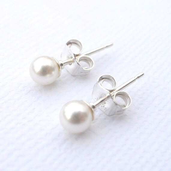 4mm Swarovski Pearl and Sterling Silver Stud Earrings - X-Small - 17 Color Choices