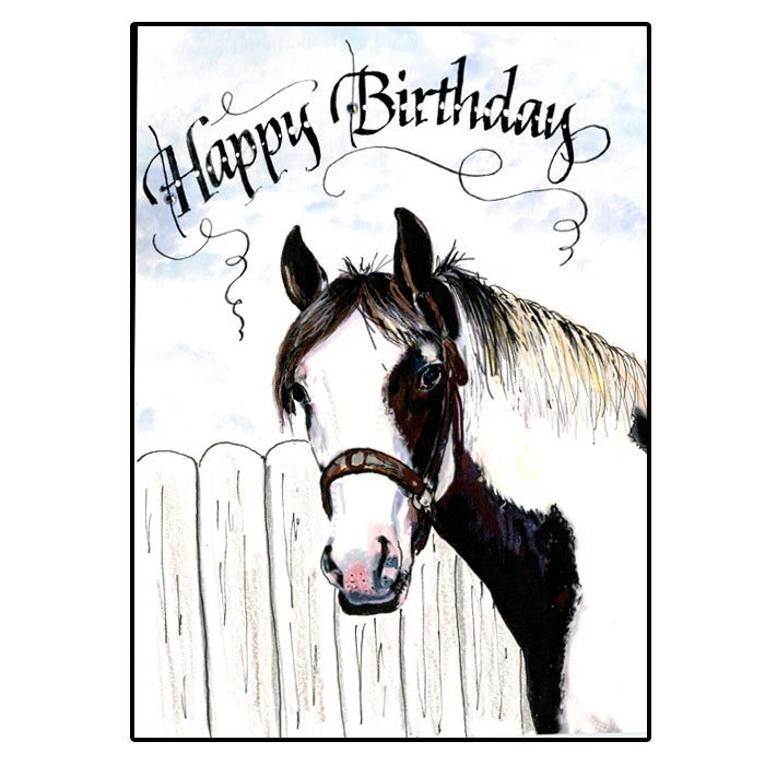 Pinto Horse Birthday Card Western Horse Birthday Card