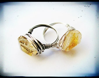 Silver Wire Wrapped Faceted Citrine Nugget Ring