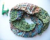 Women's knit scarf, cowl infinity hand knit  circle, lime green teal blue tan beige orange purple wool cotton alpaca loop crochet i333