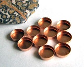 Bezel Cups - 8 mm Round Solid Copper Plain Wall - Quantity 10 - Jewelry or Craft Supply