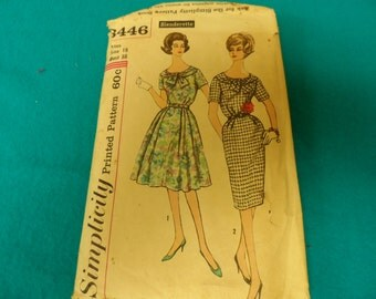 Vintage Simplicity 3446 Dress Pattern Size 18