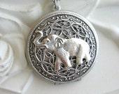 SALE Elephant LOCKET, Silver Locket Necklace, Elephant Necklace, Elephant Pendant, Lucky Elephant, Safari, Baby Elephant, Elephant Jewelry