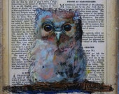Baby Owl Hand Embellished Print Ready to Hang