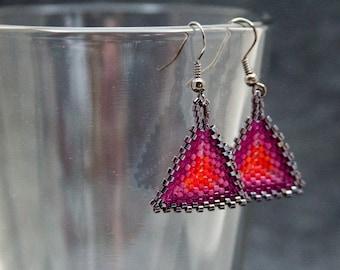 Beaded Dangle Earrings - Peyote Triangles - Raspberry Red Purple Lilac by randomcreative on Etsy