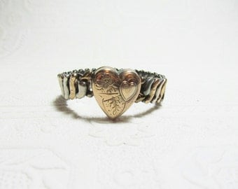Sweetheart Heart Bracelet  1940s Sterling Silver Gold Expandable Etched Engraved 'A'