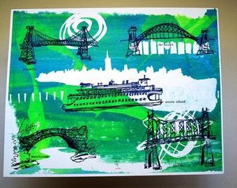 THE FIVE BOROUGHS #06   handmade screenprint of New York City bridges over swirls of blues & greens by Kathryn DiLego