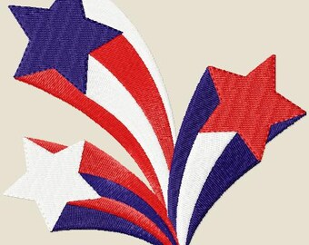 Stars and Stripes Embroidery Design 3 Sizes