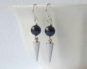LAST ONE Purple Silver Spike Dangle Earrings