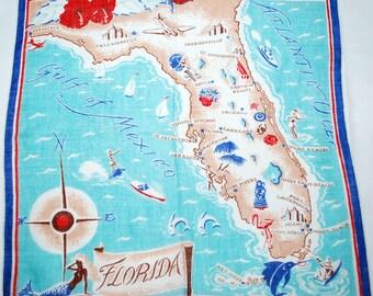 Vintage Florida State Souvenir Handkerchief-1960s era