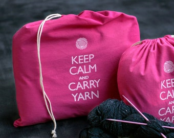 Large knitting project bag - Keep Calm and Carry Yarn - raspberry