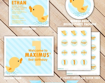 DELUXE Rubber Ducky Party Package...Personalized Invitation and Party Printables...by KM Thomas Designs