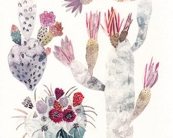 """Cactus Trio - 8"""" x 10"""" Archival Print"""