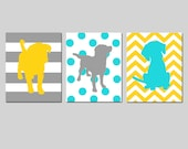 Puppy Dog Trio - Set of Three 8x10 Prints - Kids Wall Art for Nursery - Chevron, Polka Dots, Stripes - CHOOSE YOUR COLORS