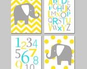 Elephant Nursery Art Nursery Decor - Set of Four 11x14 Prints - Chevron Polka Dot Elephants, Alphabet, Numbers - CHOOSE YOUR COLORS