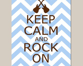 Keep Calm and Rock On Nursery Decor Art Guitars Chevron - 11x14 Quote Print - Kids Wall Art - CHOOSE YOUR COLORS