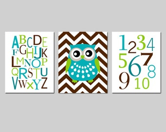 Owl Nursery Art Trio - Alphabet, Chevron Owl, Numbers - Kids Wall Art - Set of Three 8x10 Prints - CHOOSE YOUR COLORS