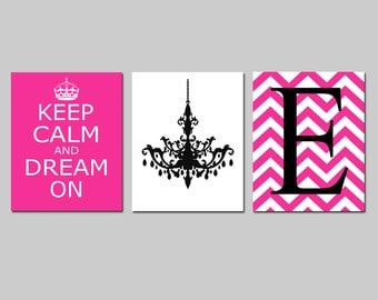Keep Calm and Dream On, Chevron Monogram Initial, Chandelier Trio - Set of Three 11x14 Prints - CHOOSE YOUR COLORS - Teen Girl Bedroom Art