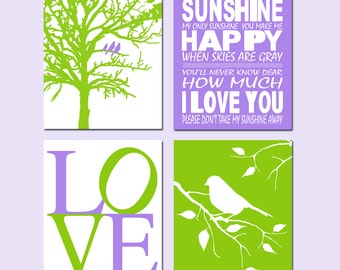 Purple Green Nursery Art Quad - You Are My Sunshine, Love, Birds in a Tree, Bird on a Branch - Set of Four 8x10 Prints - CHOOSE YOUR COLORS
